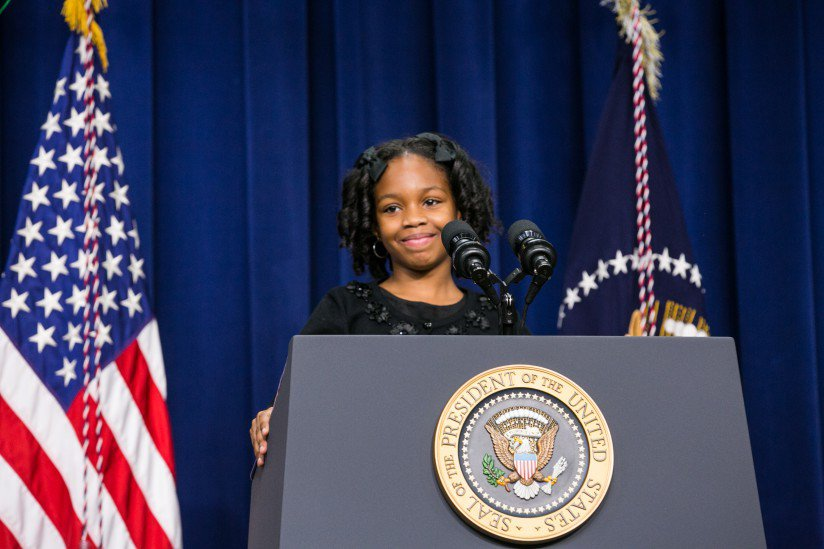 """DCPS third grader Alajah Lane introduces President Barack Obama, saying, """"All kids should get the chance to learn when they are little because it is so important. When you invest in me, you invest in us."""""""